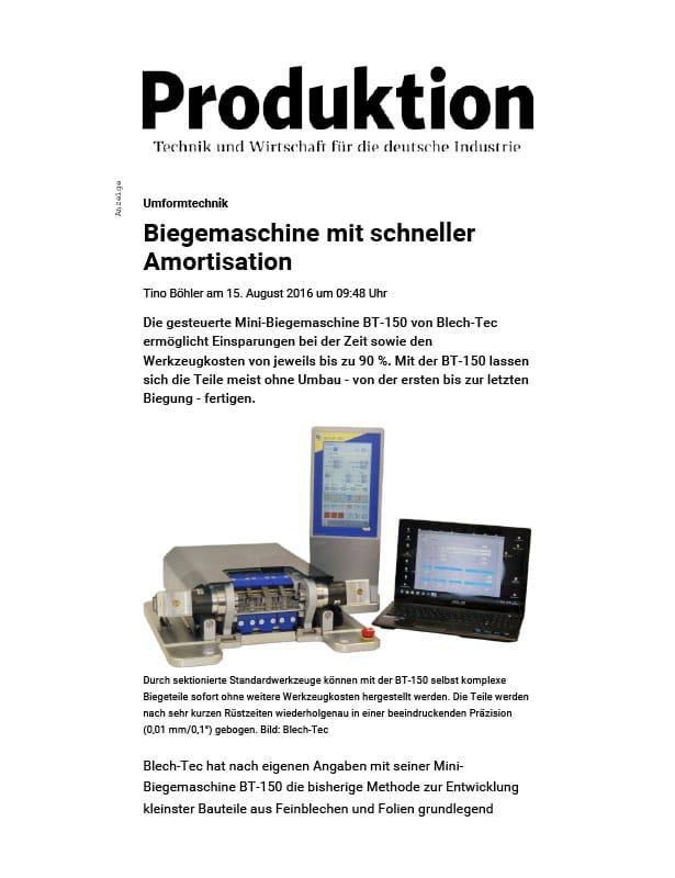 Produktion // August 2016